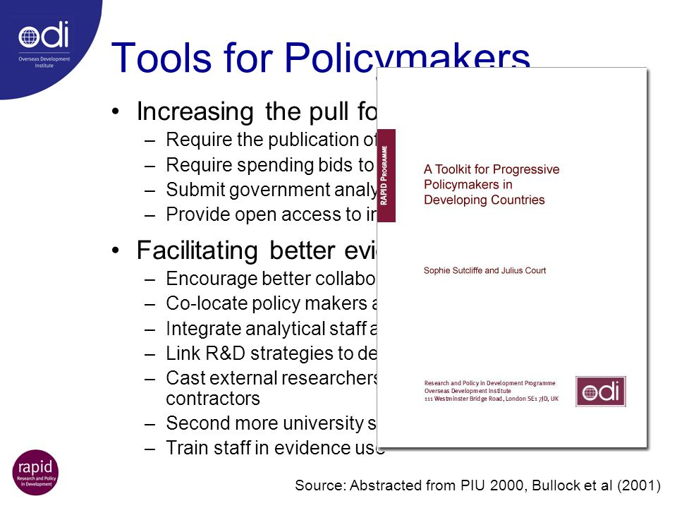 Tools for Policymakers