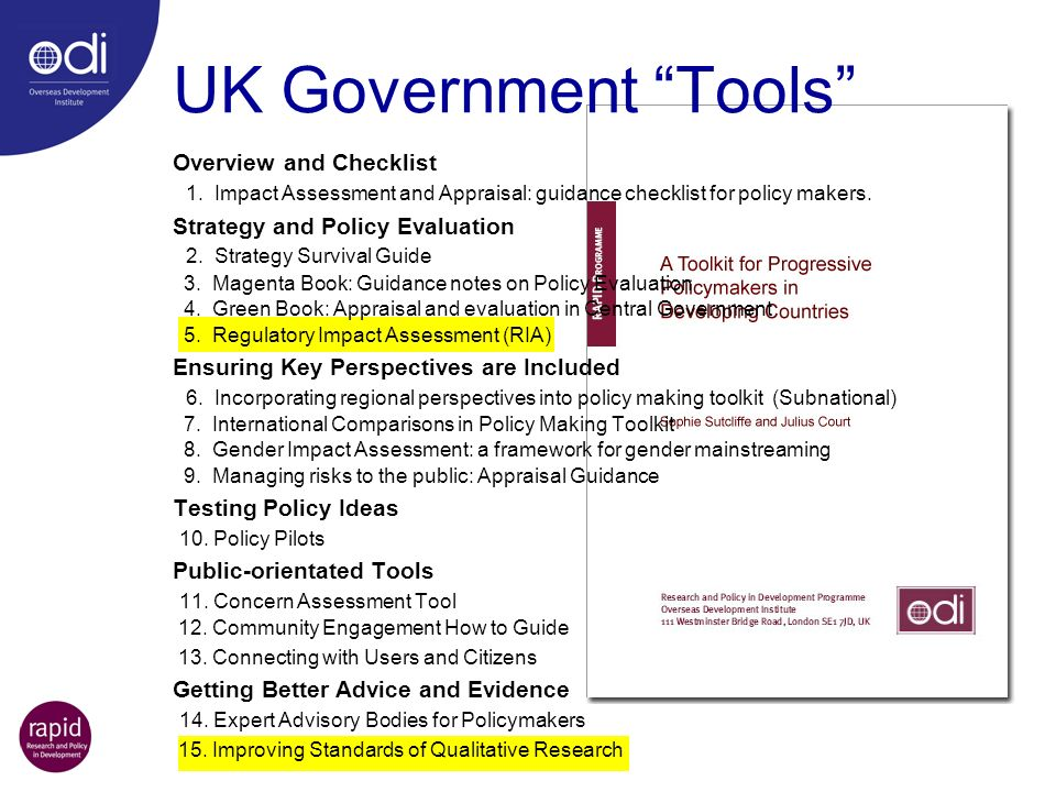 UK Government Tools Overview and Checklist