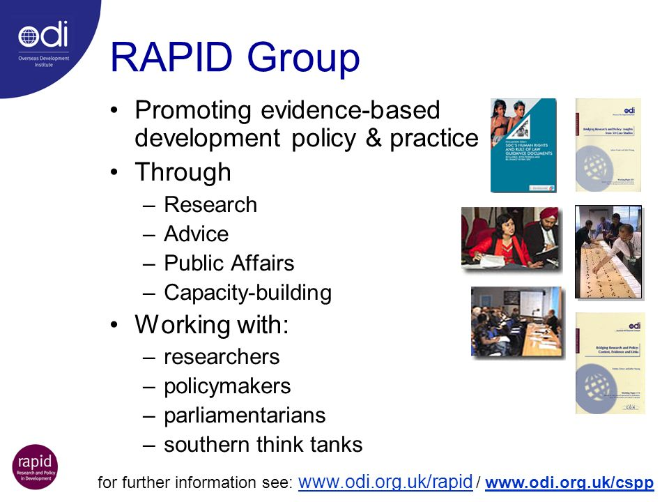RAPID Group Promoting evidence-based development policy & practice