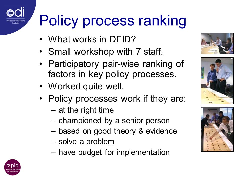 Policy process ranking
