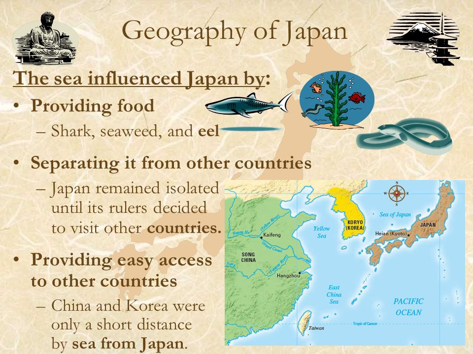 influence of geography on japanese society 52 discuss the reign of prince shotoku of japan and the characteristics of japanese society and family life during his reign 53 describe the values, social customs, and.