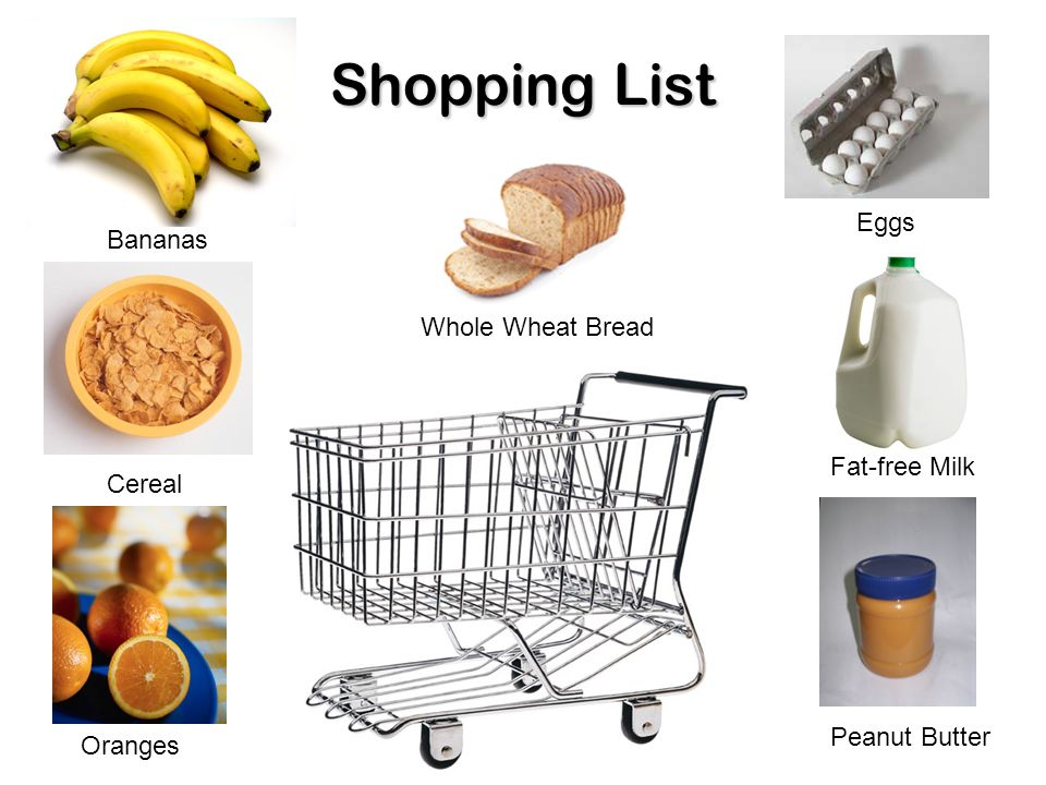 Shopping List Eggs Bananas Whole Wheat Bread Fat Free Milk Cereal