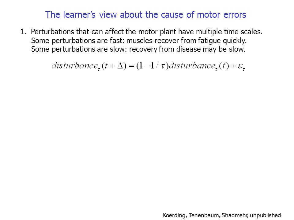 The learner's view about the cause of motor errors