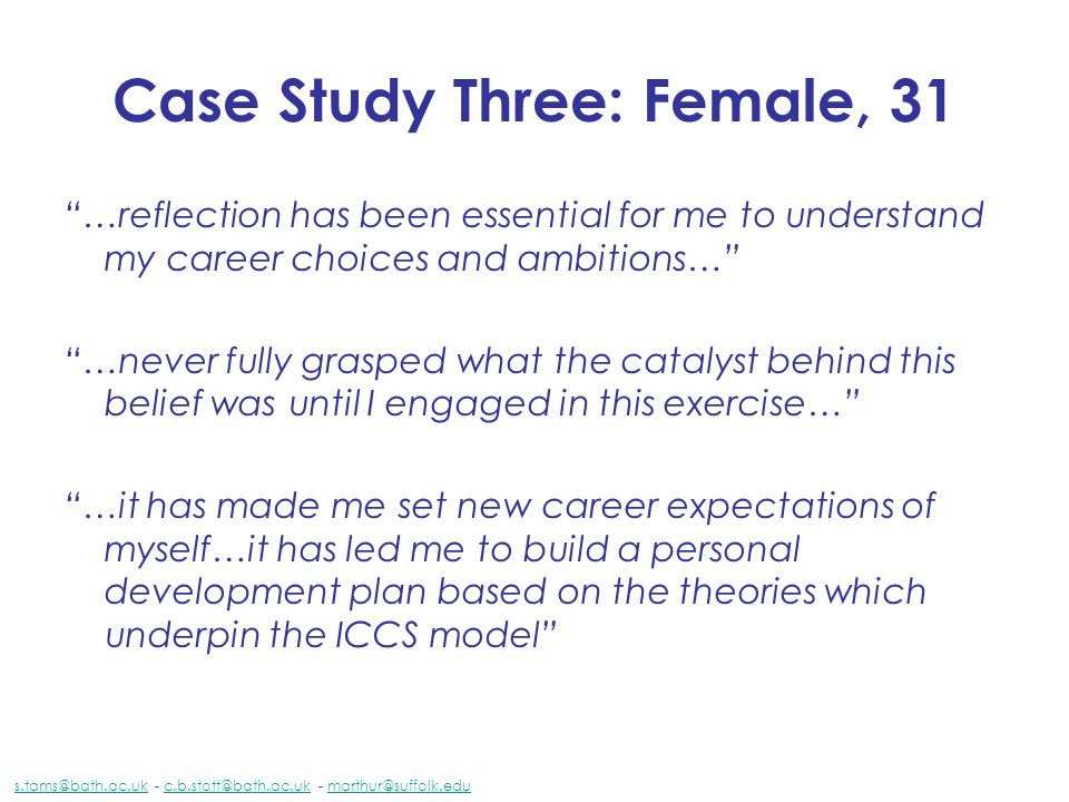Case Study Three: Female, 31