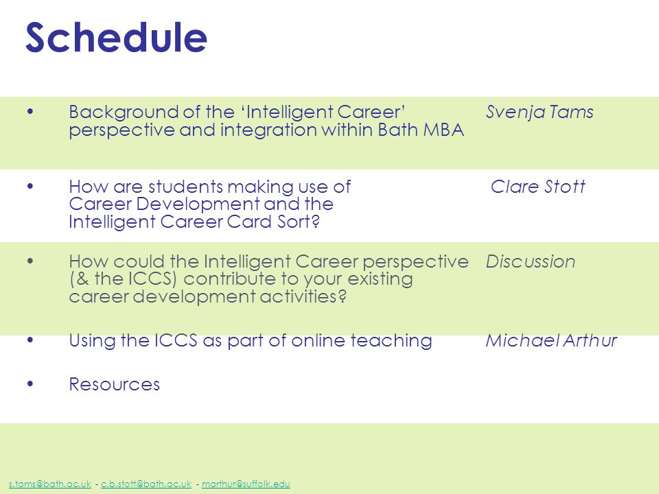 Schedule Background of the 'Intelligent Career' Svenja Tams perspective and integration within Bath MBA.
