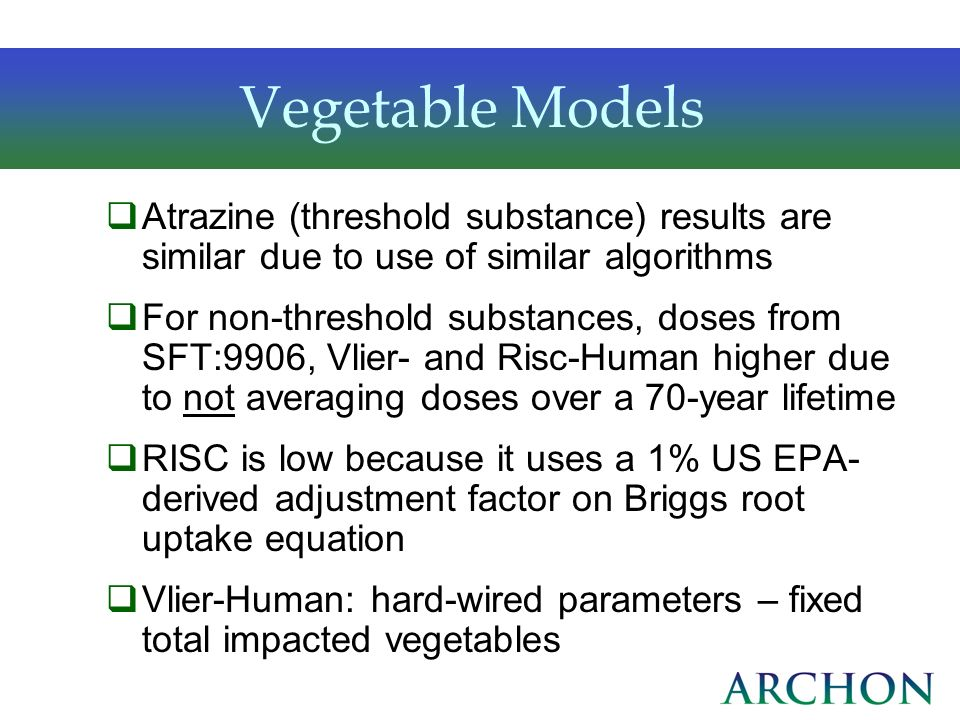 Vegetable Models Atrazine (threshold substance) results are similar due to use of similar algorithms.