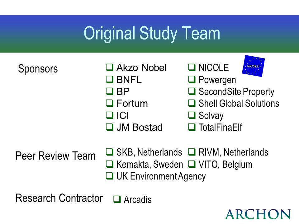 Original Study Team Sponsors Peer Review Team Research Contractor