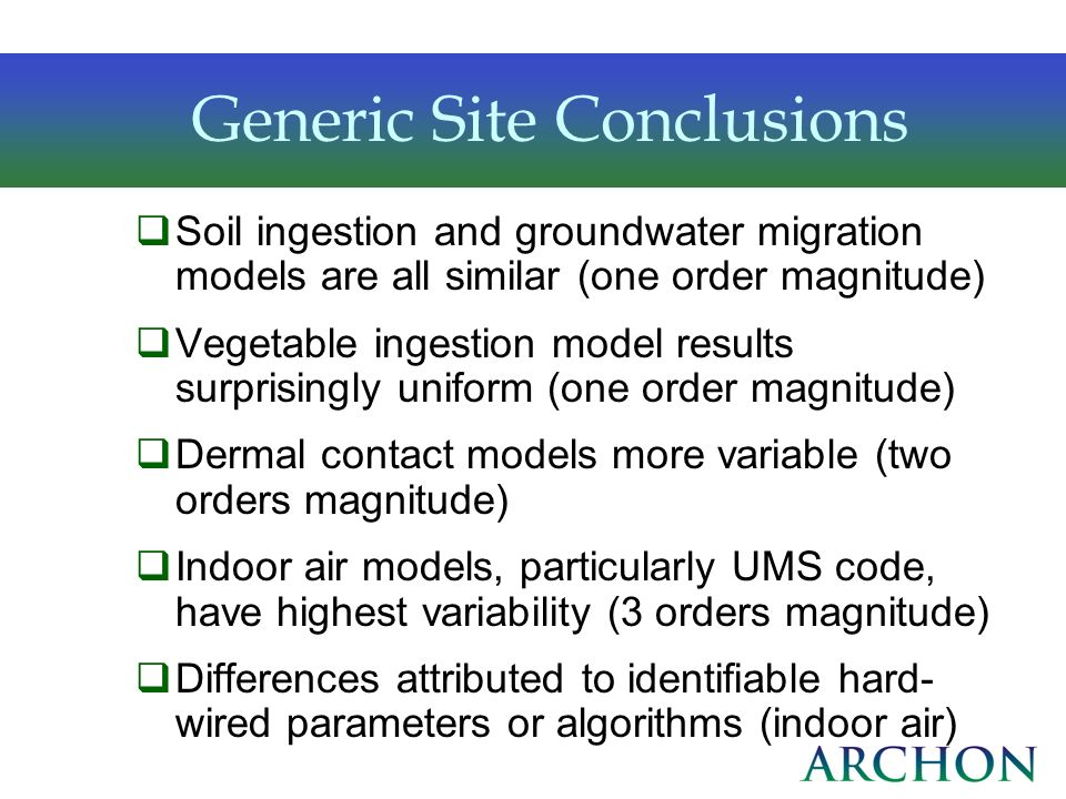 Generic Site Conclusions