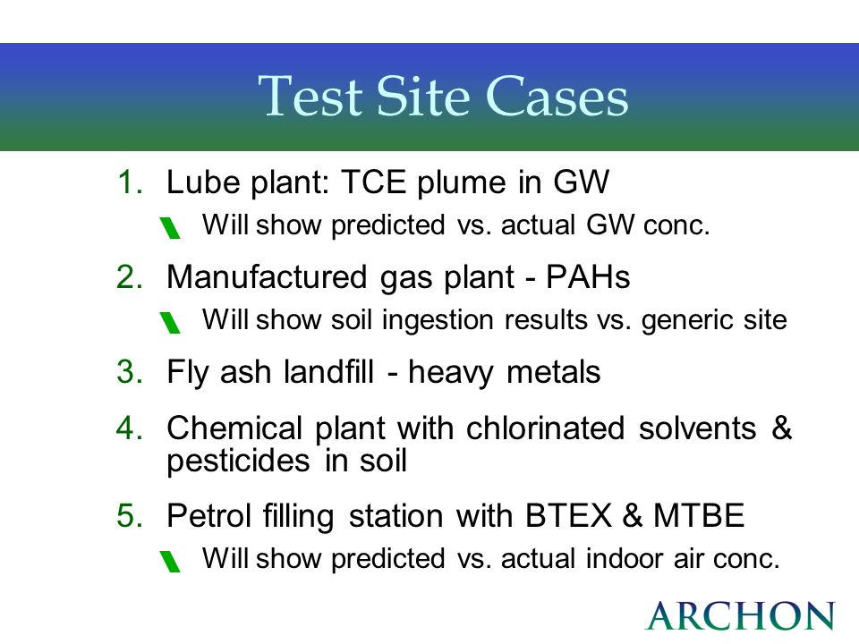 Test Site Cases Lube plant: TCE plume in GW