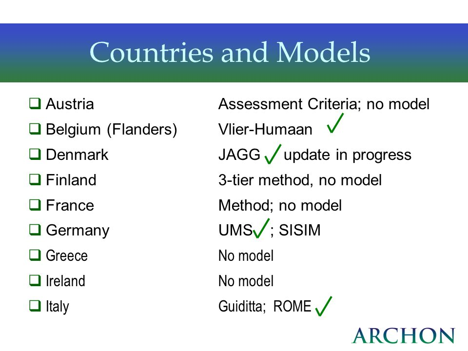 Countries and Models Austria Assessment Criteria; no model