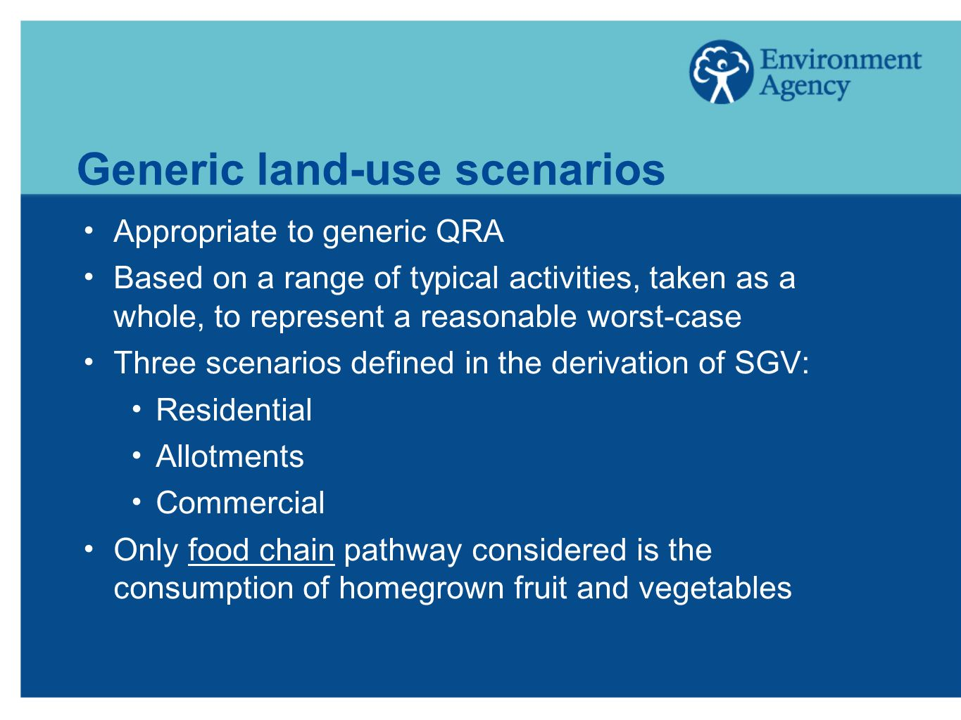 Generic land-use scenarios