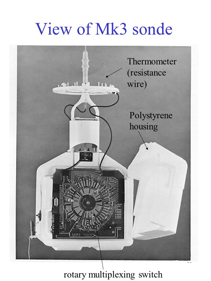 View of Mk3 sonde Thermometer (resistance wire) Polystyrene housing