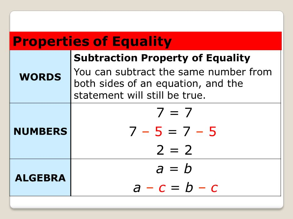 Properties of Equality 7 = 7 7 – 5 = 7 – 5 2 = 2 a = b a – c = b – c