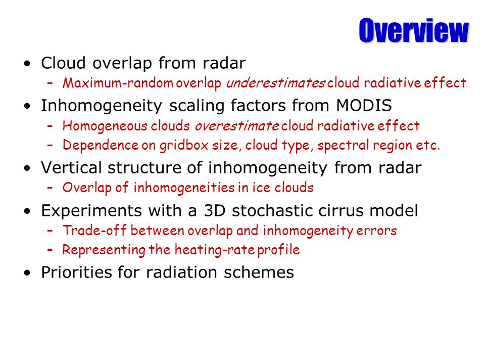 Overview Cloud overlap from radar