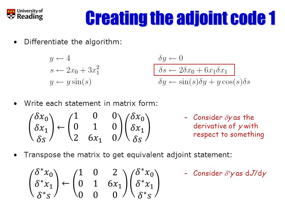 Creating the adjoint code 1