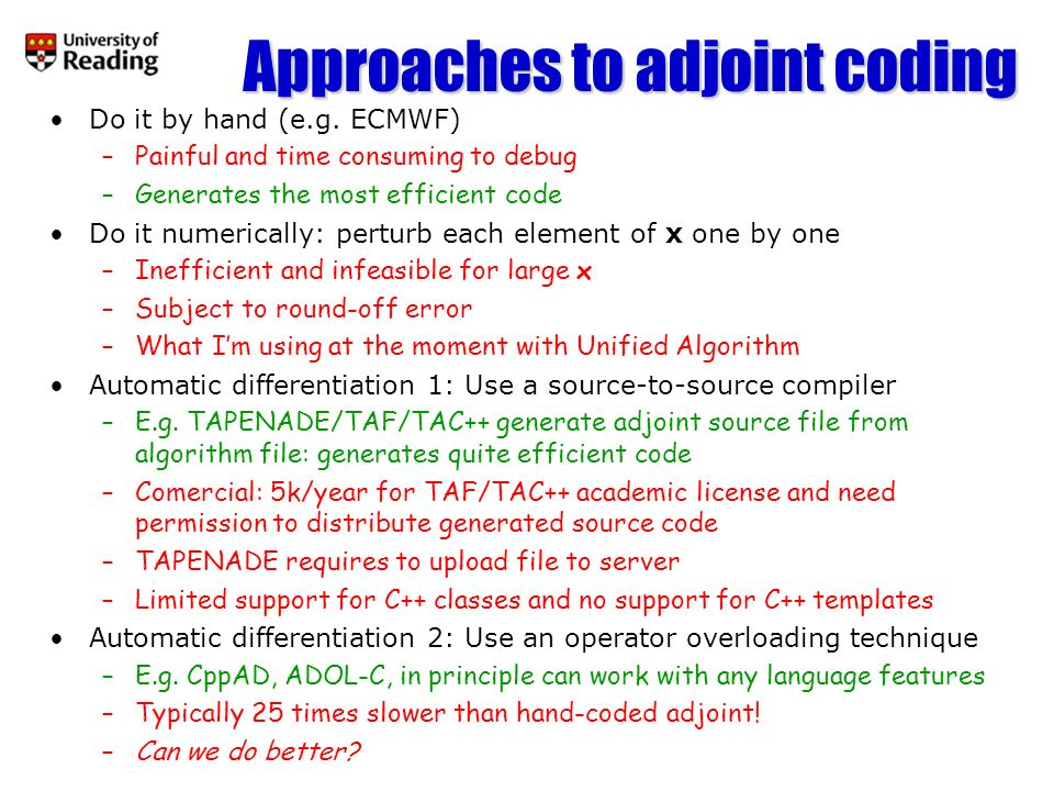 Approaches to adjoint coding