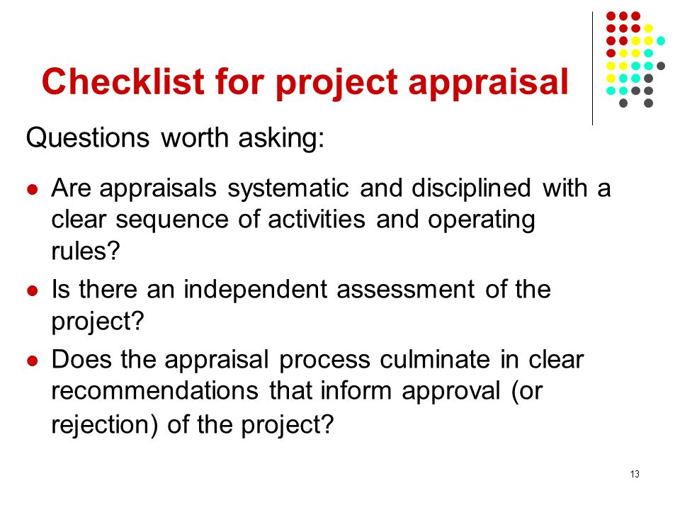Checklist for project appraisal