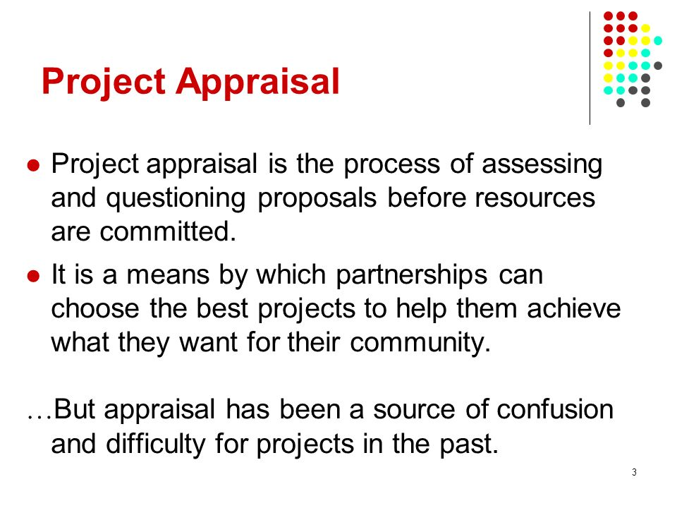 Project Appraisal Project appraisal is the process of assessing and questioning proposals before resources are committed.
