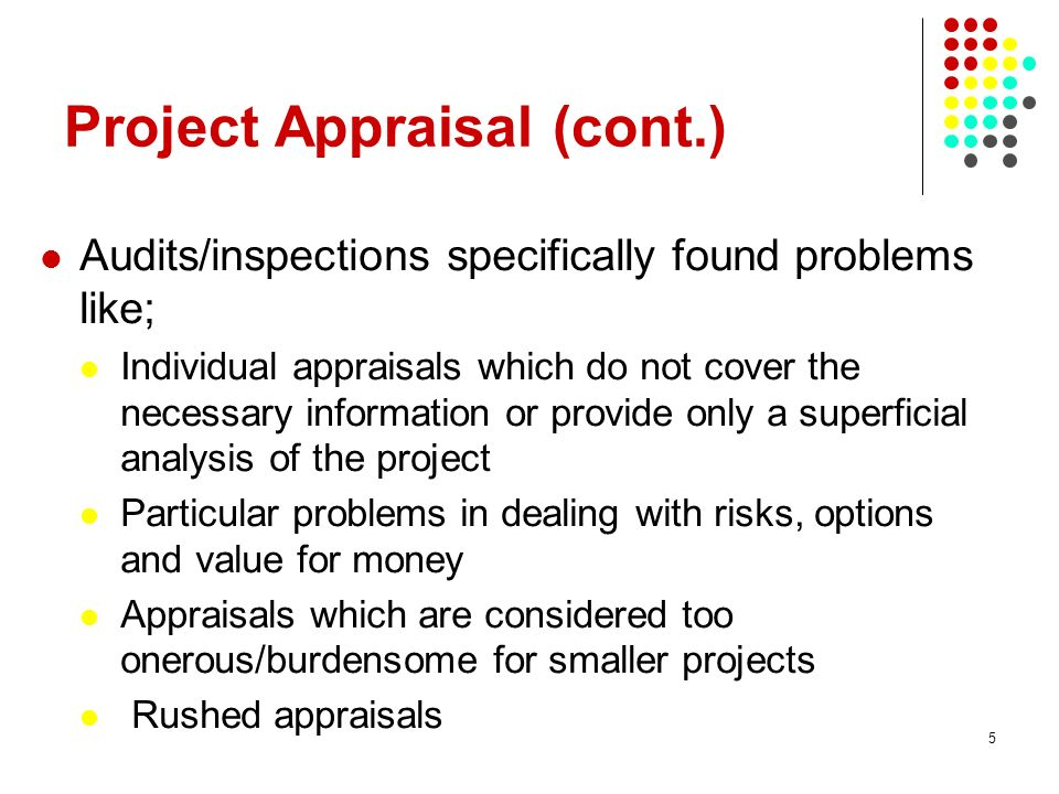 Project Appraisal (cont.)
