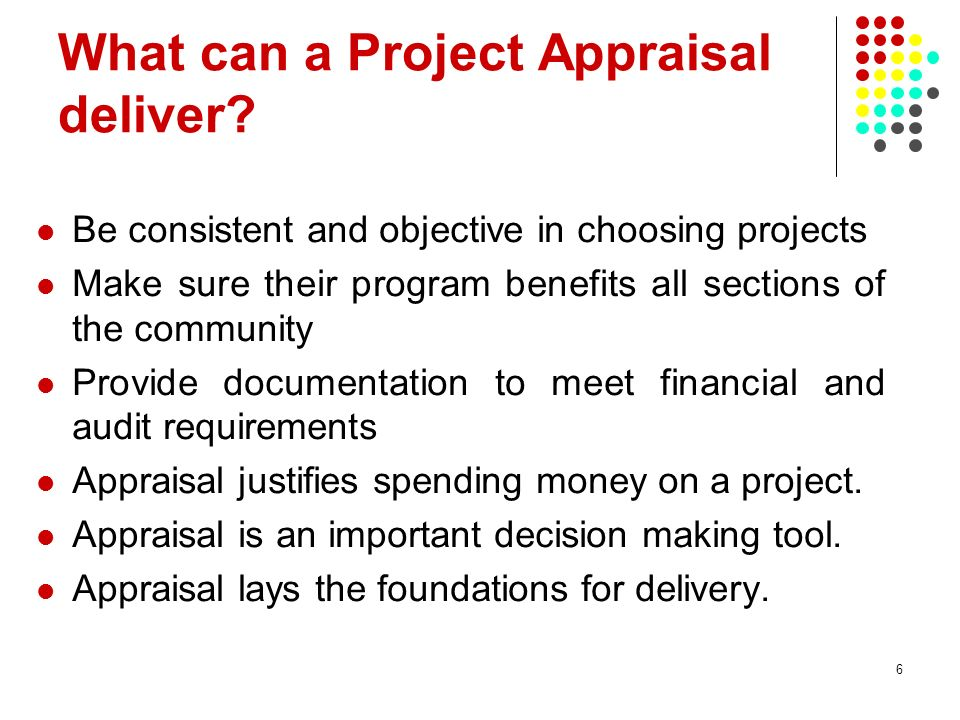 What can a Project Appraisal deliver