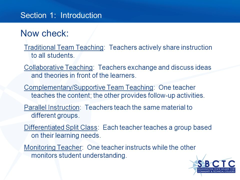 Section 1: Introduction to Models of Team Teaching - ppt