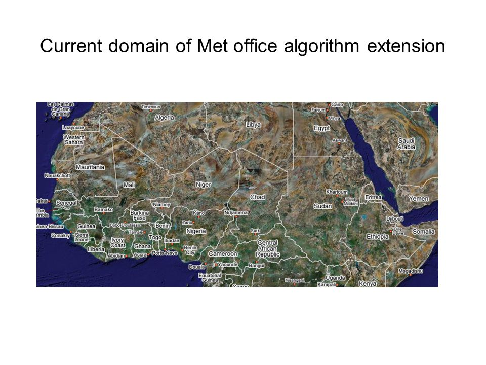 Current domain of Met office algorithm extension