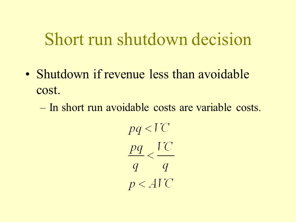 Short run shutdown decision