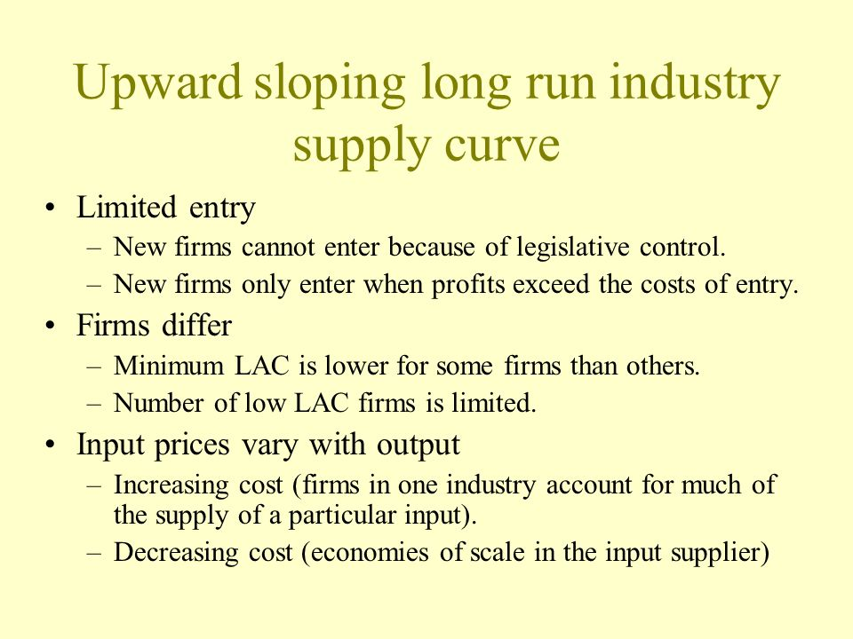 Upward sloping long run industry supply curve