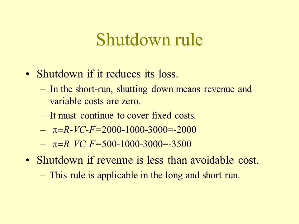 Shutdown rule Shutdown if it reduces its loss.