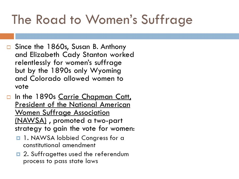 The Road to Women's Suffrage
