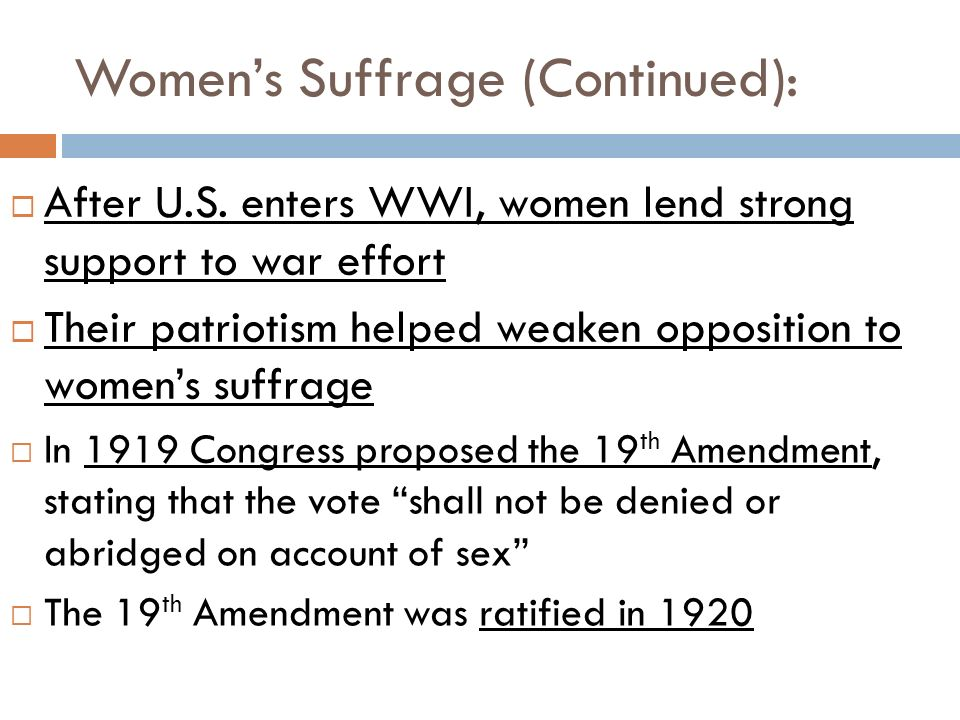 Women's Suffrage (Continued):