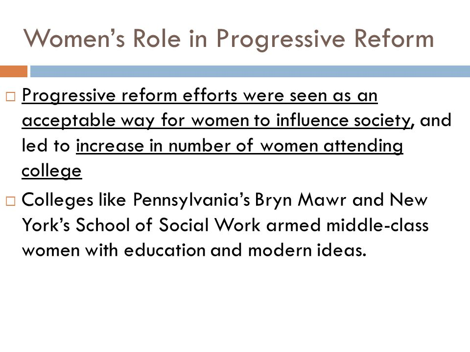 Women's Role in Progressive Reform