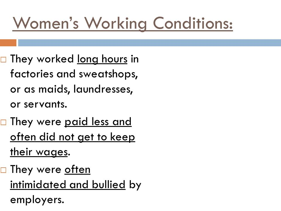 Women's Working Conditions: