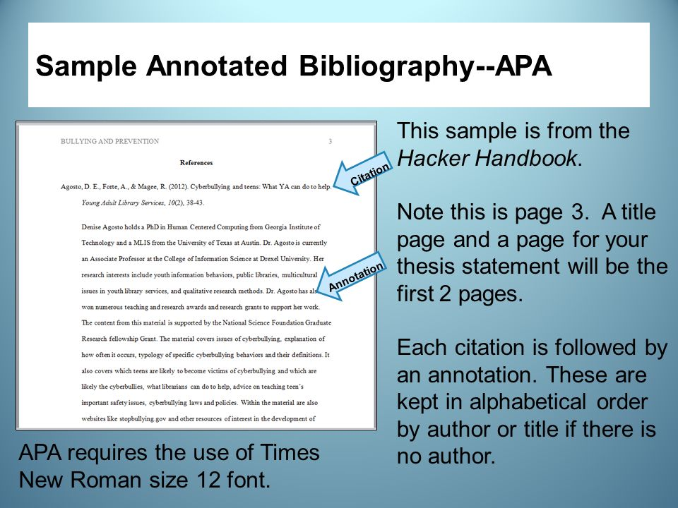 Annotated bibliography page numbers apa