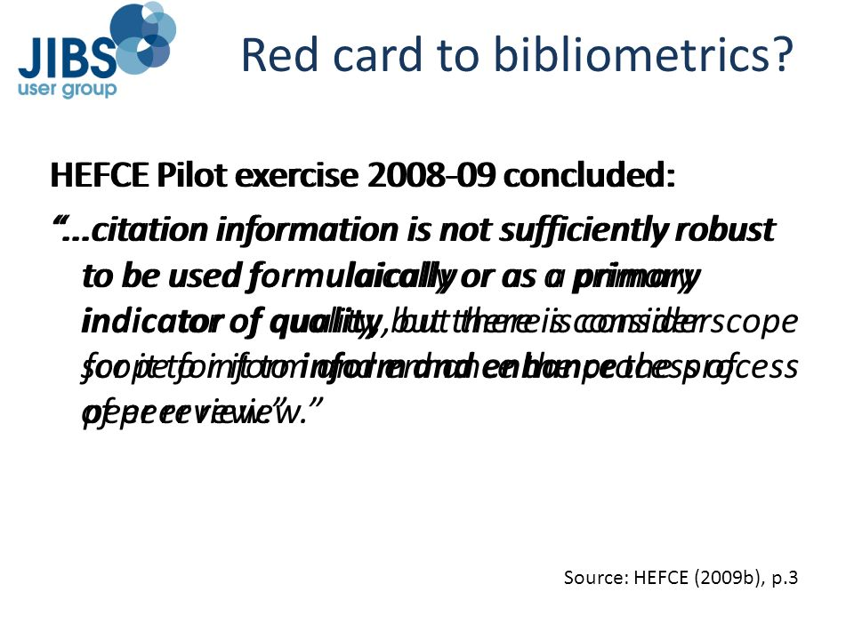 Red card to bibliometrics