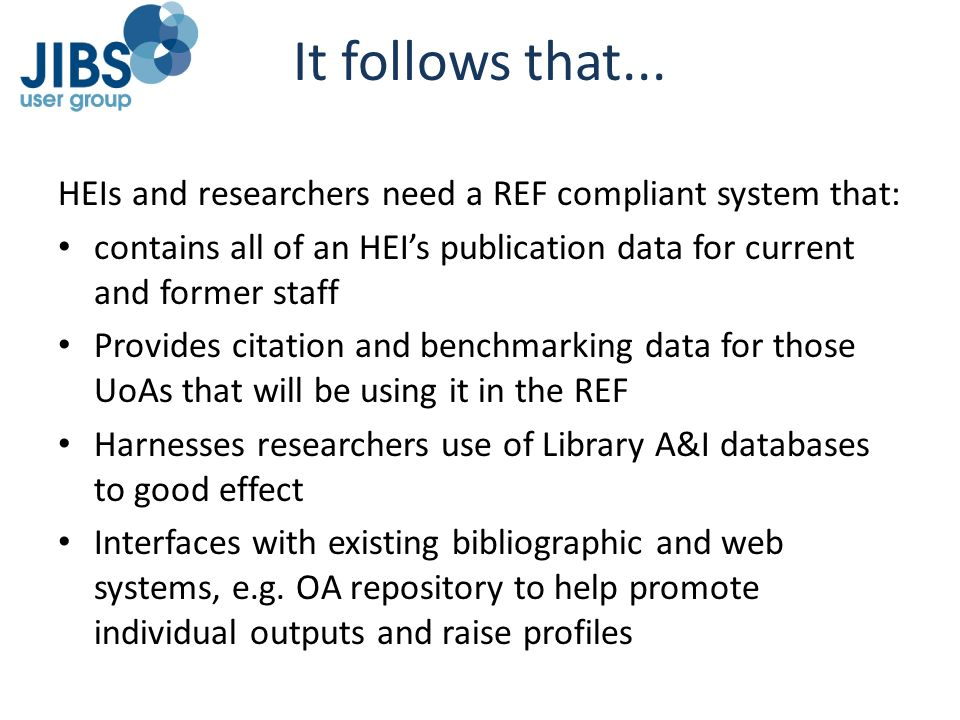 It follows that... HEIs and researchers need a REF compliant system that: contains all of an HEI's publication data for current and former staff.