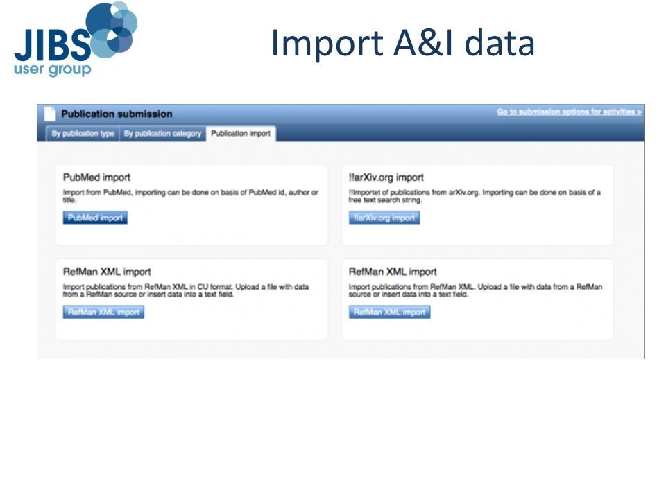 Import A&I data