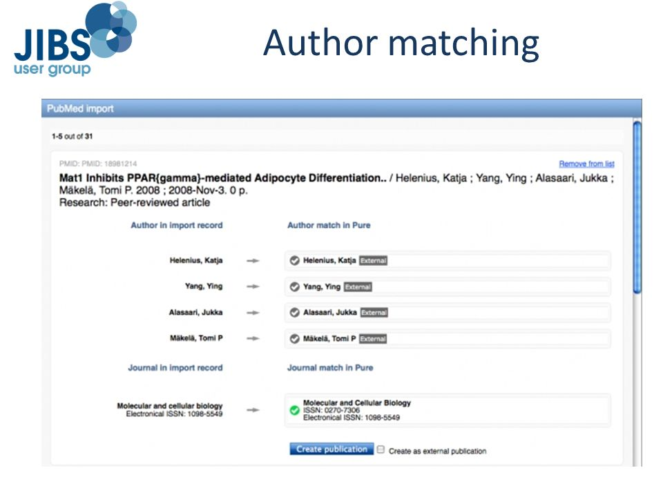 Author matching