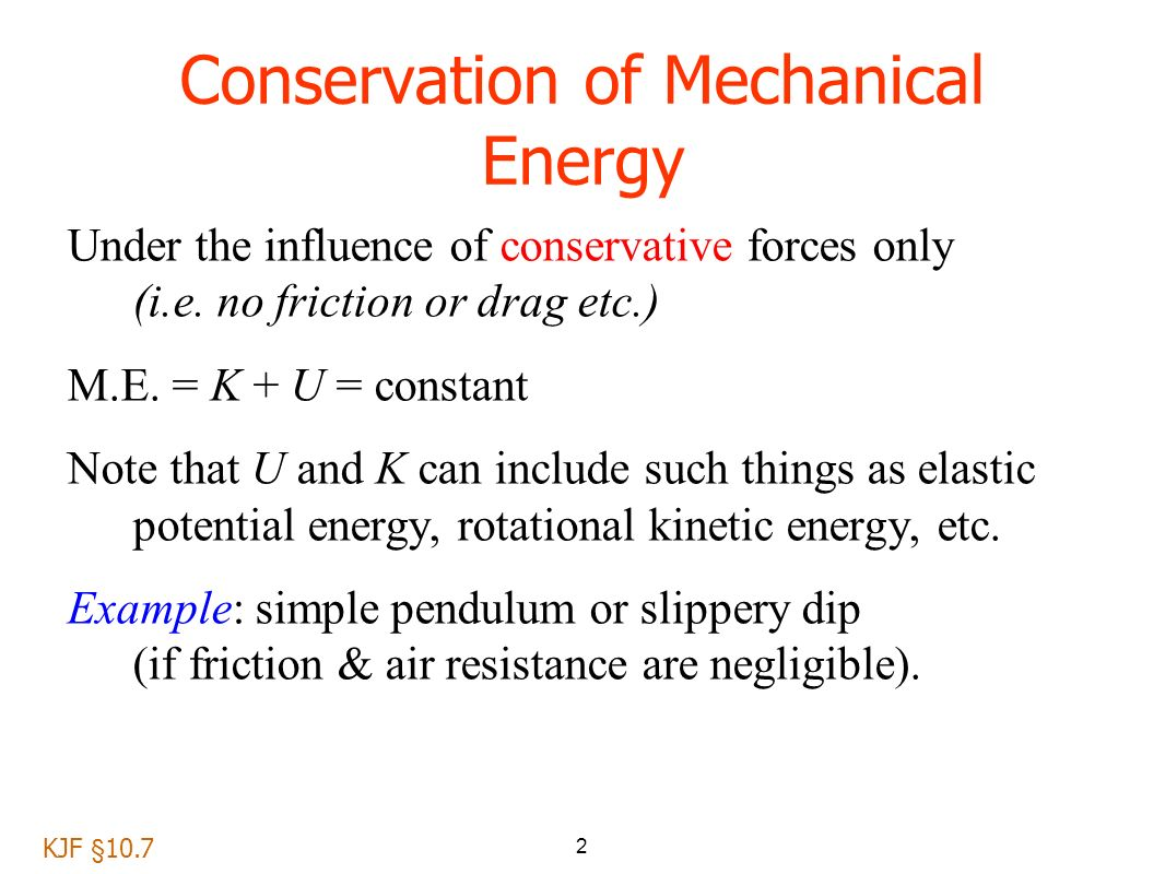 Mechanical energy. The law of conservation of mechanical energy. Application of law 59
