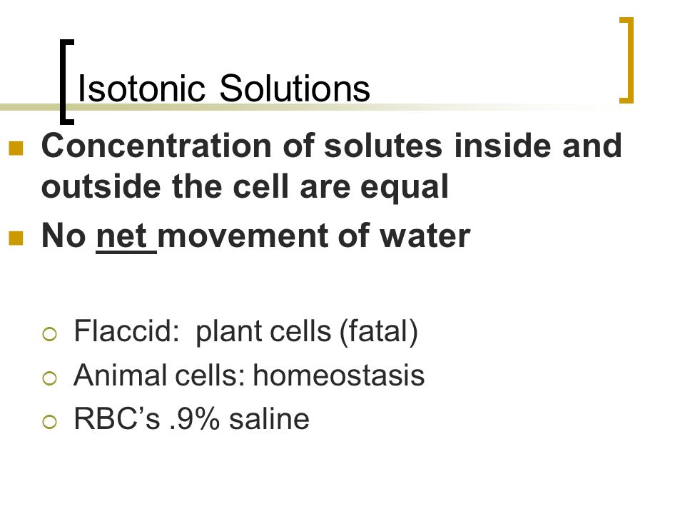 Isotonic Solutions Concentration of solutes inside and outside the cell are equal. No net movement of water.