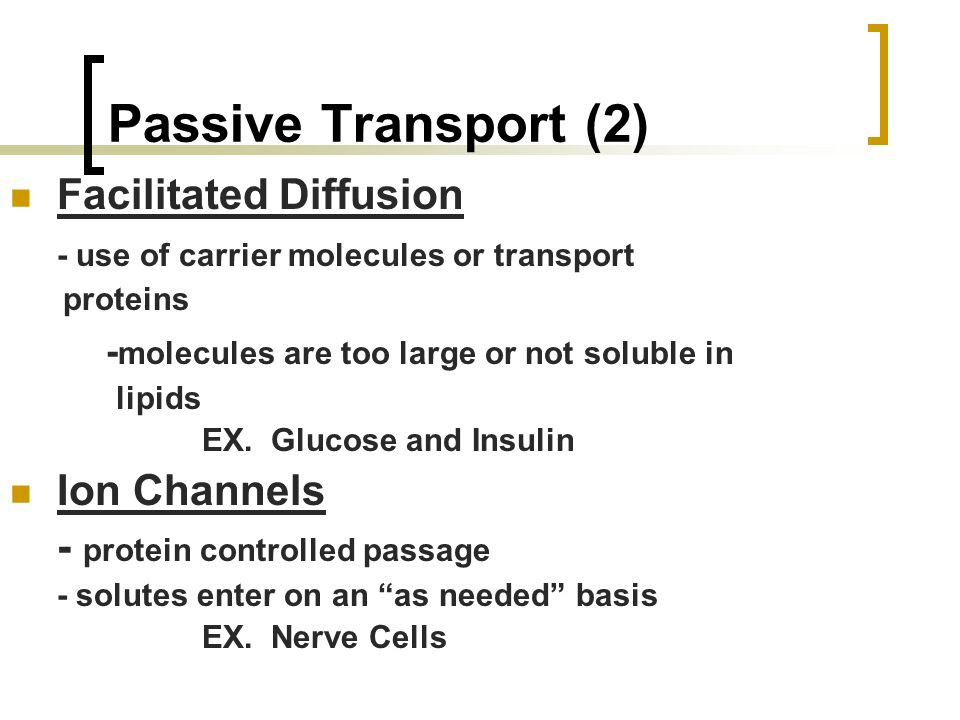 Passive Transport (2) Facilitated Diffusion