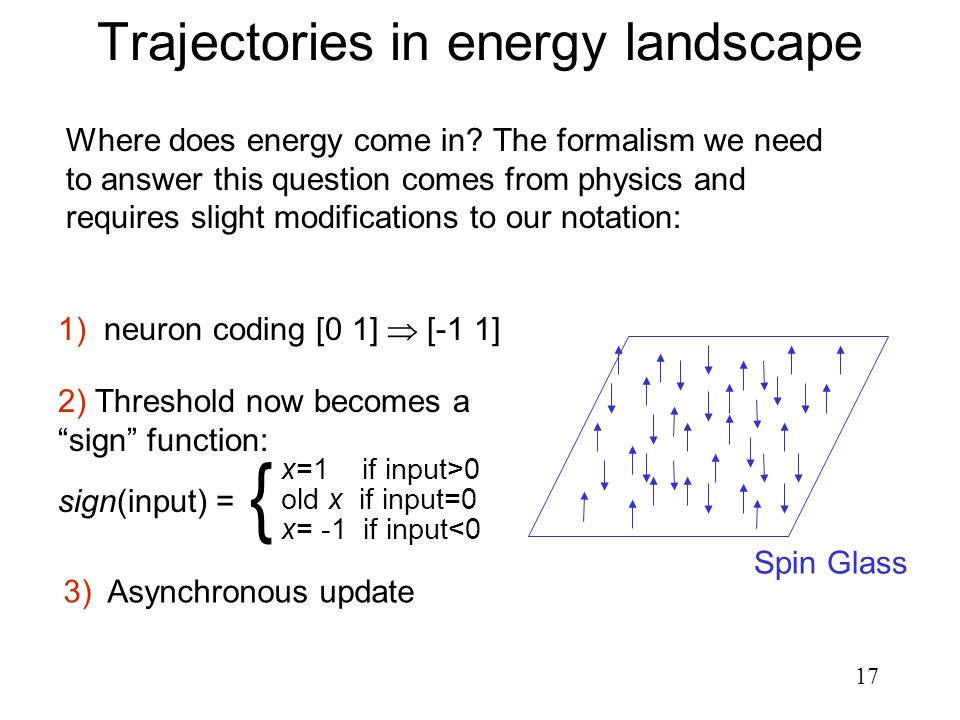Trajectories in energy landscape