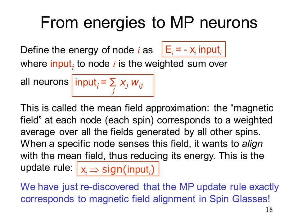 From energies to MP neurons