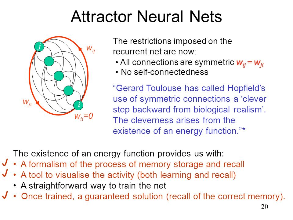 Attractor Neural Nets The restrictions imposed on the recurrent net are now: j. wij. wji. All connections are symmetric wij = wji.