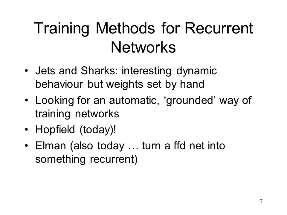 Training Methods for Recurrent Networks