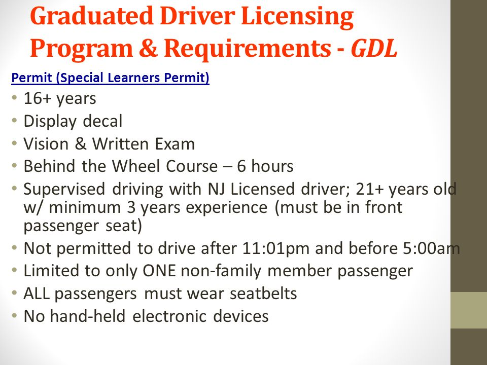 nj graduated drivers license program