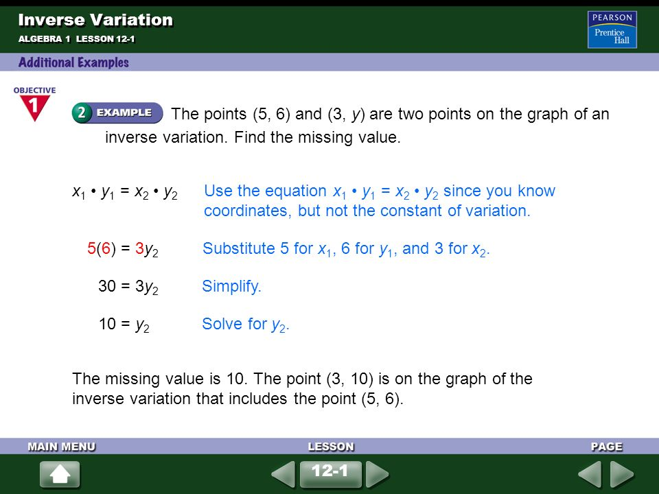 Suppose y varies directly with x  Find each constant of