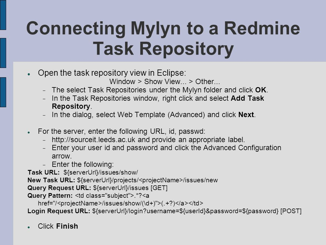 Connecting Mylyn to a Redmine Task Repository