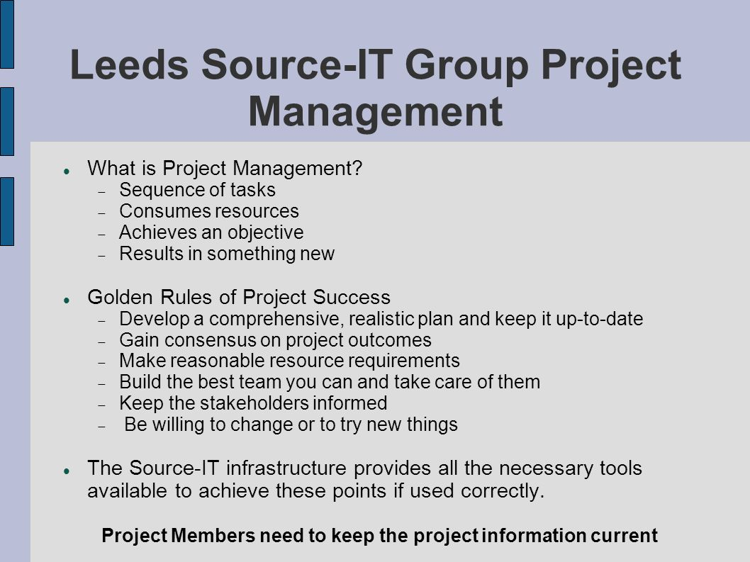 Leeds Source-IT Group Project Management