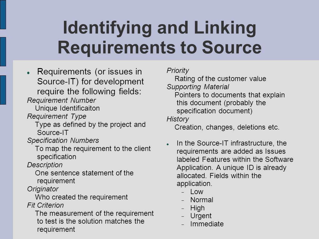 Identifying and Linking Requirements to Source